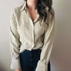 Vintage Striped Silk Button Down Blouse